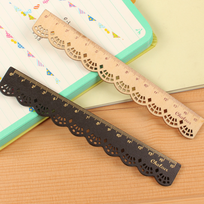 1PCS New Cute 16CM Korea Zakka Kawaii Stationery Lace Brown Wood Ruler Sewing Ruler Office School Promotional Stationery