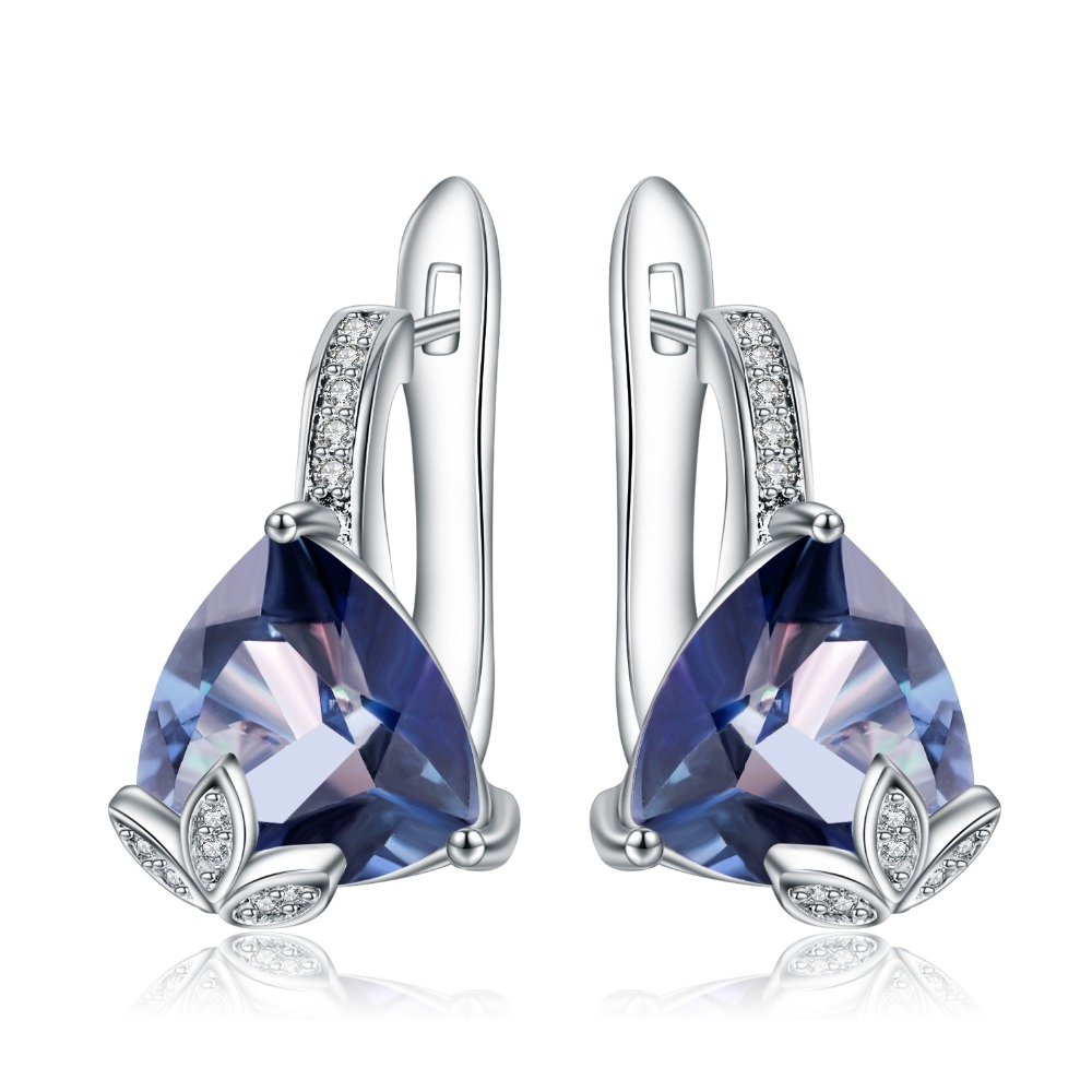 GEM'S BALLET 6.10Ct Natural Iolite Blue Mystic Quartz Triangle Earrings 925 Sterling Silver Stud Earrings For Women Engagement