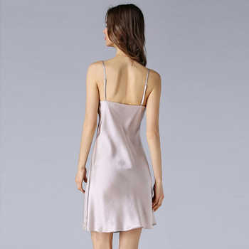 Nightgowns Women 100% Silk Embroidery Lace Spaghetti Strap V neck Adjustable Length 2 Colors Elegant Style All Season