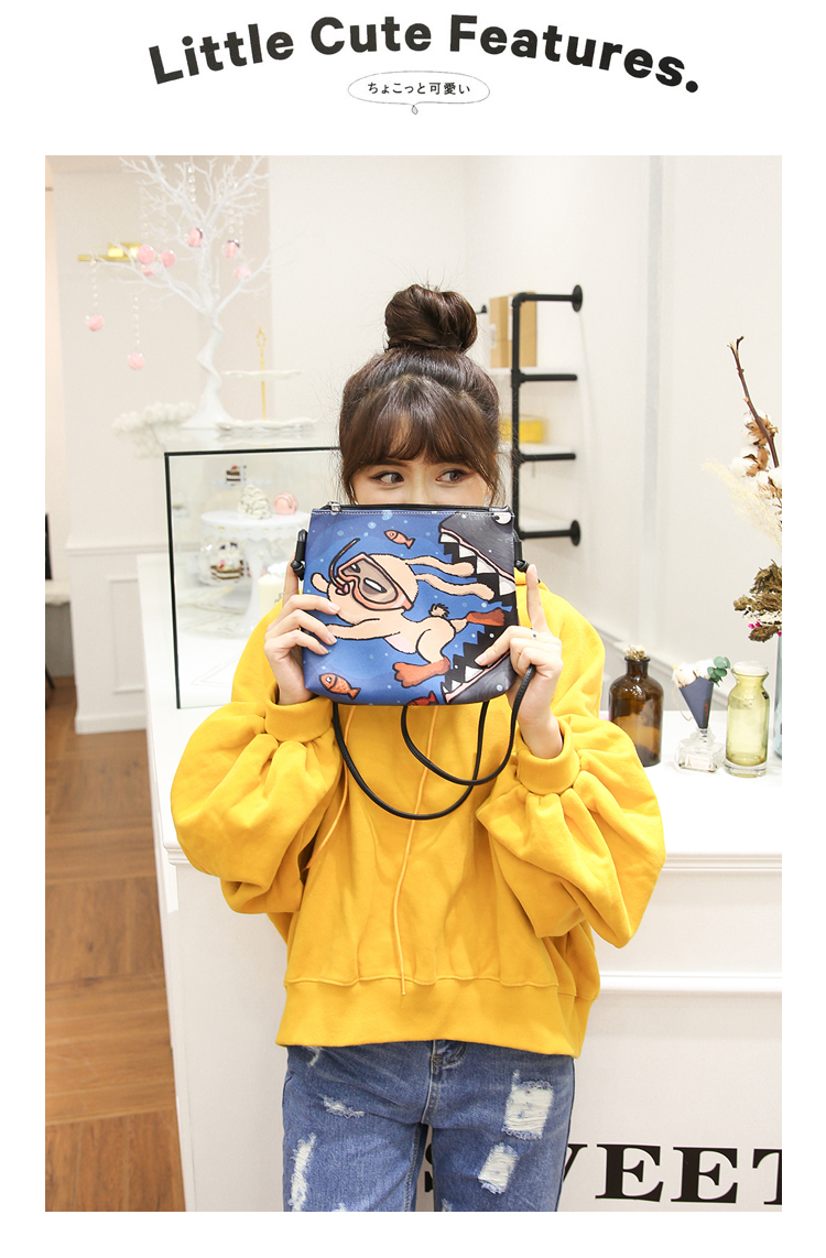 Menghuo 2017 Women Envelope Shoulder Clutch Bag Quality PU Cartoon Cat Printing Small Female Message Purse for Teenagers Girls (10)