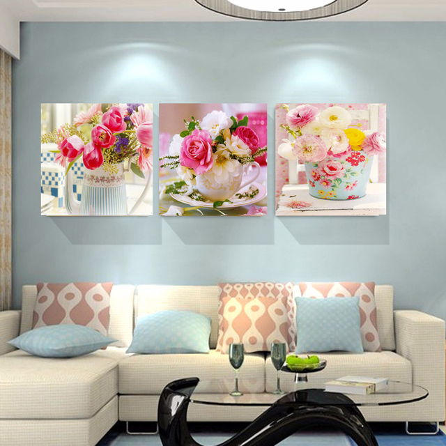 3 Piece Canvas Arts Flowers Bottle Canvas Painting Wall Art Living Room  Dining Room Home Decor