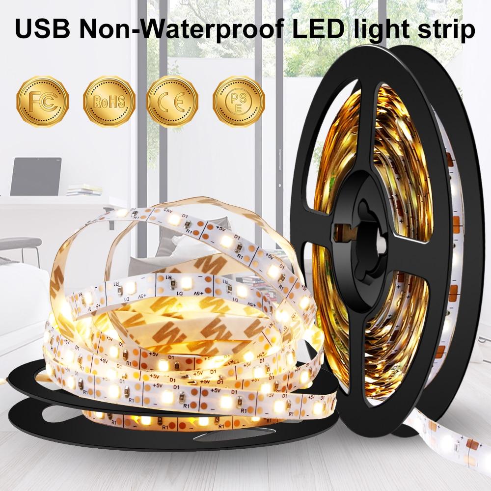 5m Usb Led Strip Light Flexible Ribbon Fita 5v Led Strip Tv Backlight Lamp Tape 2835smd Neon Led Cocina Cabinet Light Bande
