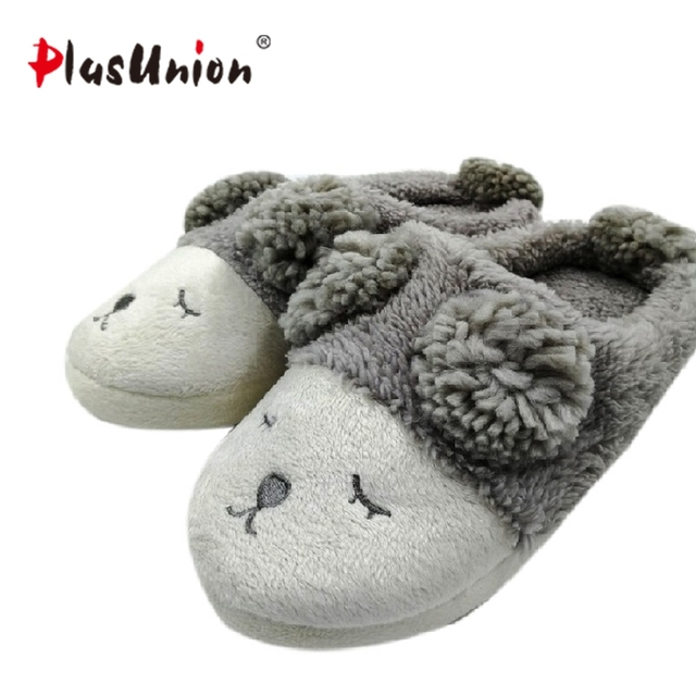 winter home slippers women indoor furry fluffy fuzzy house mules ...