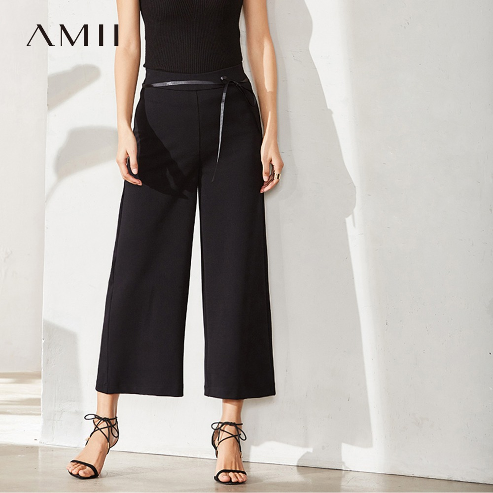 Amii Women Minimalist   Wide     Leg     Pants   2019 Solid Drawstring Ankle Length Female Trousers