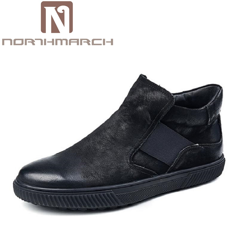 NORTHMARCH Brand Quality Genuine Leather Winter Boots Men 2018 Casual Handmade Round Toe Zip Design Men Shoes Coturnos Masculino mycolen brand quality genuine leather winter boots comfortable black men shoes men casual handmade round toe zip wear boots