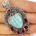 Awesome Goddess Turquoise Color Face, Blood Ruby Party Woman's  Silver Pendant 58x28mm