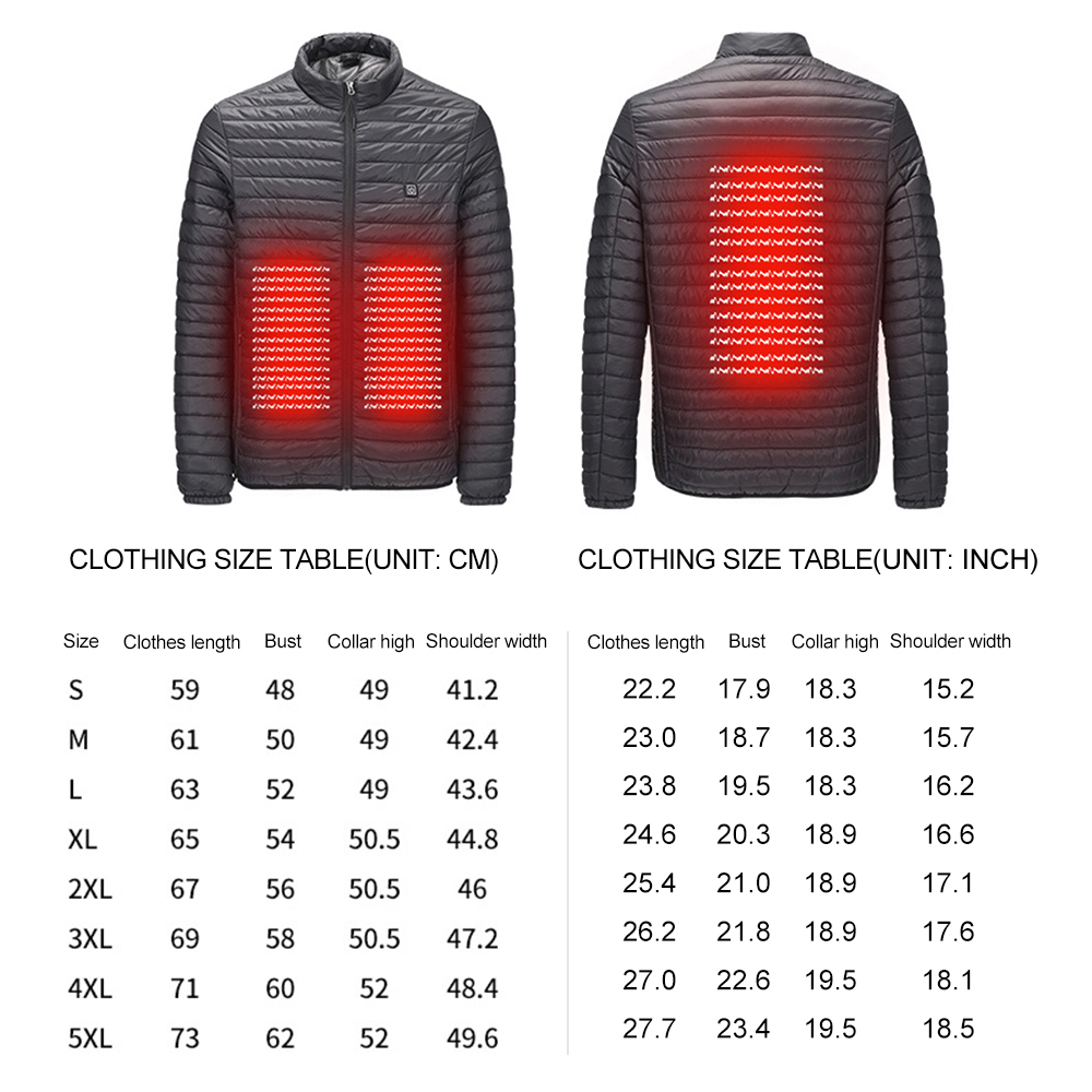 Hot Electric Smart Heated Man Woman Jacket Waistcoat Warm Coat Feather Clothes Thermal Softshell Jacket Winter Heating Clothes