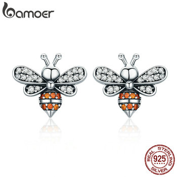 925 Sterling Silver Bee Exquisite Stud Earrings