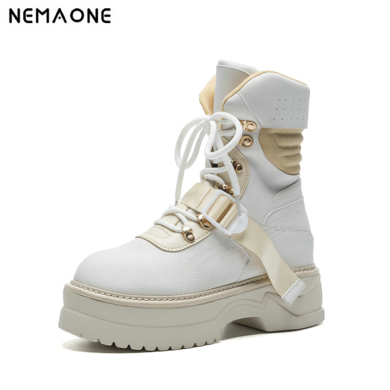 NemaoNe 2018 new arrival genuine leather ankle boots for women lace up platform boots fashion punk Martin boots flat shoes цена