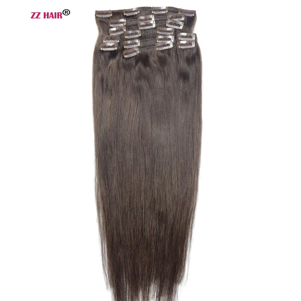 "ZZHAIR 140g-280g 16""-28"" Machine Made Remy Hair 10pcs Set Clips In Human Hair Extensions Full Head Set Natural Straight Hair(China)"