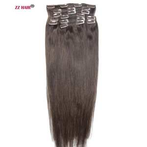 ZZHAIR 10pcs Clips In Human Hair Extensions Natural