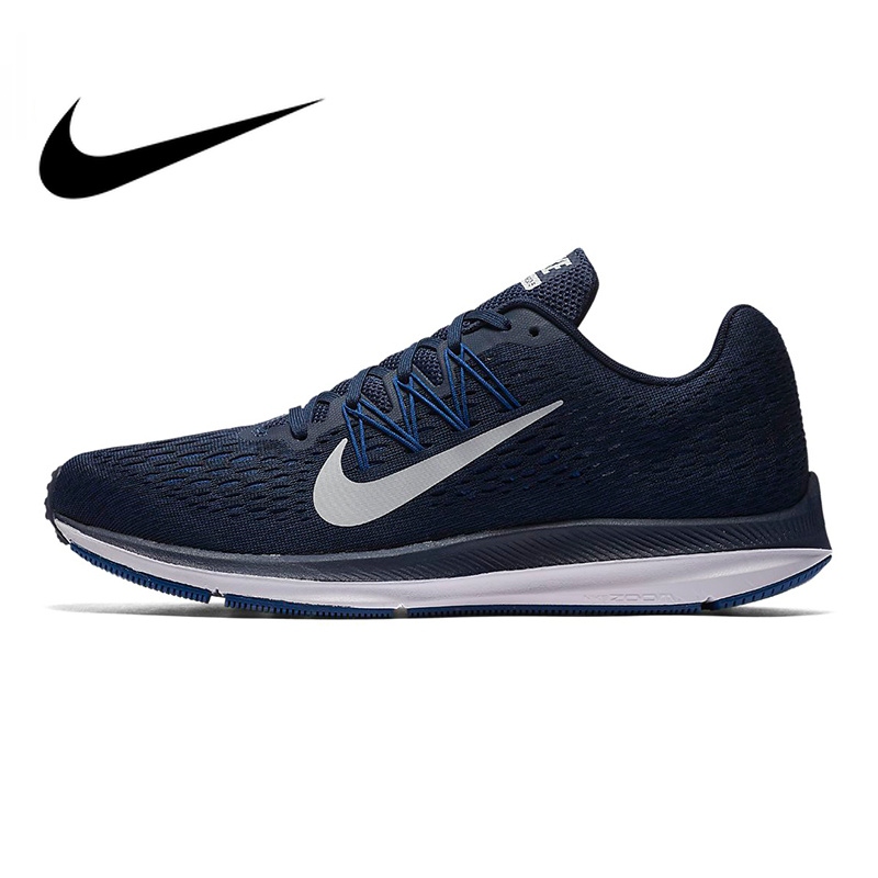 Authentic Nike Zoom Winflo 5 Men Running Shoes Original Sneakers Shoes Navy Blue Breathable Non slip Shock Absorbing AA7406