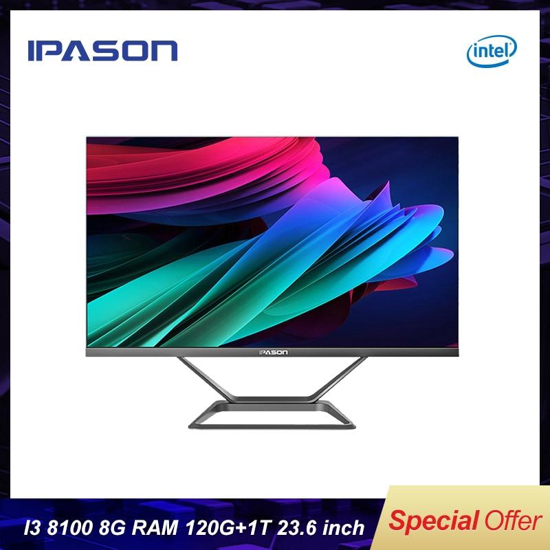 All in one Gaming PC IPASON P21-PLUS 23.8inch Intel i3 8100 4 Core 8G DDR4 RAM 1T+120G SSD WIFI Bluetooth Narrow border Mini-PC 1