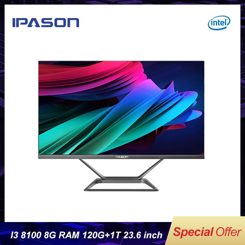 All In One Gaming PC IPASON P21-PLUS 23.8inch Intel I3 8100 4 Core 8G DDR4 RAM 1T+120G SSD WIFI Bluetooth Narrow Border Mini-PC