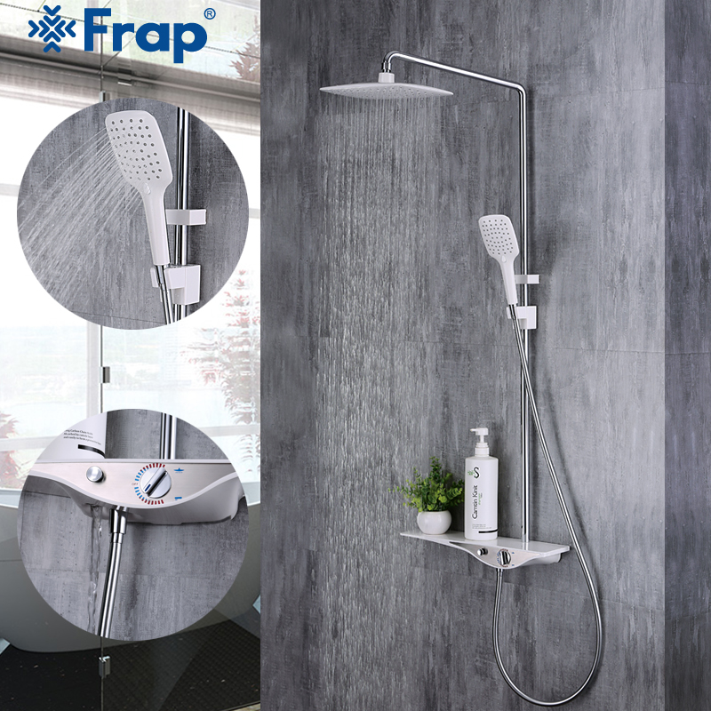 Frap 1 set Shower Faucet Set Bathroom White Mixer Tap Chrome Brass Sink Basin Faucet Set ABS Handheld Shower Wall Mounted Y24005 china sanitary ware chrome wall mount thermostatic water tap water saver thermostatic shower faucet