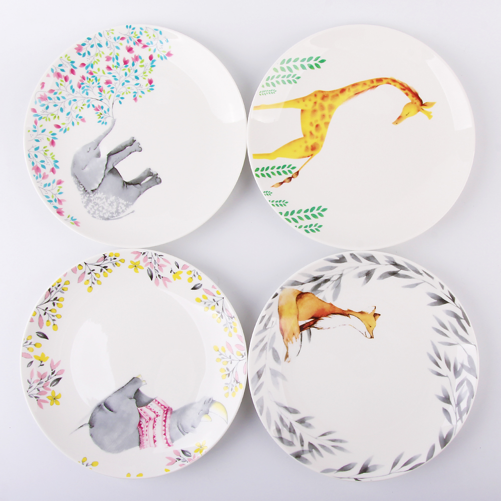 8 Inch Animal Dinner Plate Household Ceramic Cake Dishes