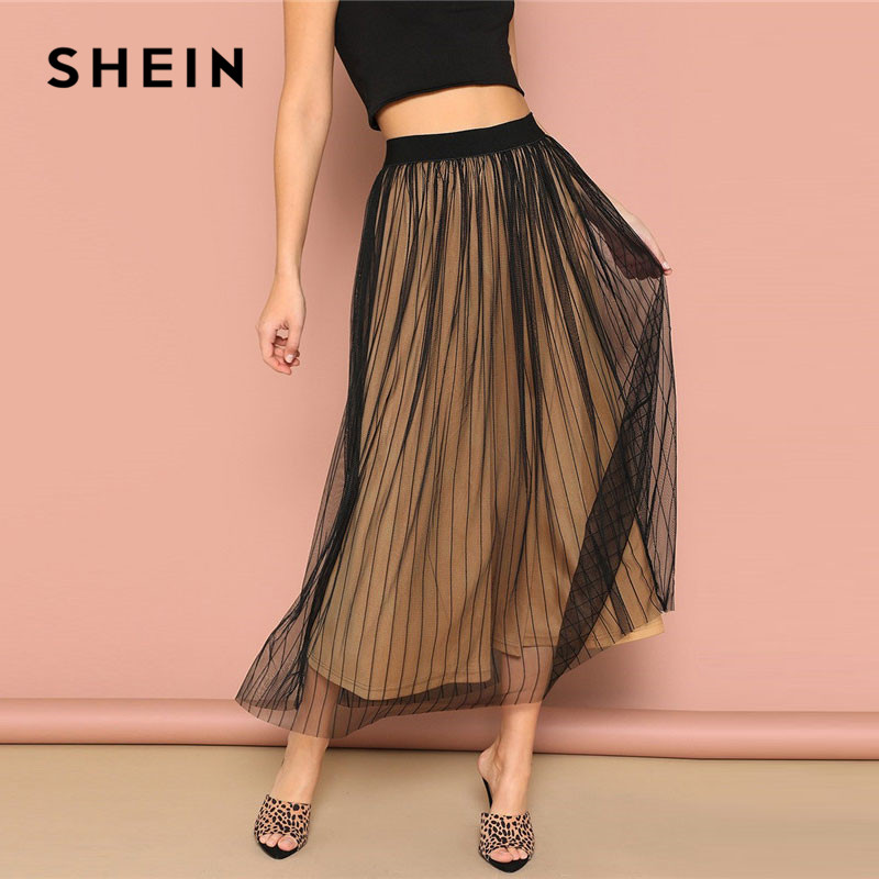 Image 3 - SHEIN Black Elastic Waist Striped Mesh Overlay Mid Waist Solid Maxi Skirt Lady Spring Casual A Line Sheer Pleated Midi Skirt-in Skirts from Women's Clothing