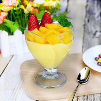 Transparency Ice cream Cup Bar Cocktail Goblet Glass Flower Shape Dessert Bowl Yogurt Milkshake Glass Mug Beverages Drinking Cup