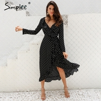 Simplee Polka Dot Ruffle Wrap Long Dress Women Split Long Sleeve Spring Casual Dress 2018 Streetwear
