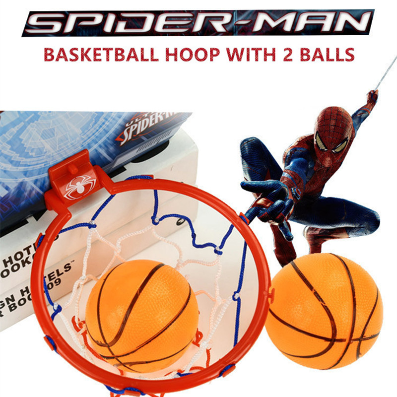 Disney Marvel Spiderman Kids Educational Fun Sports Basketball Board Hoop Set Kids Outdoor Toy For Children Boys With 2 Balls