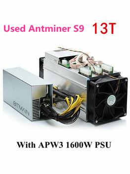 Używany BITMIAN S9 13TH S z APW3 1600W asic bitcoin BTC górnik AntMiner S9 16nm Btc górnik ekonomiczny niż WhatsMiner M3 M3X tanie i dobre opinie YUNHUI 10 100 mbps 1300w Used ANTMINER S9 13T Stock