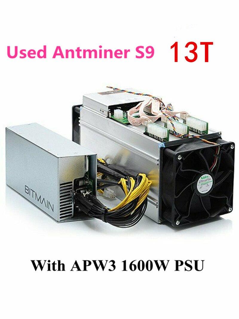 Utilizzato BITMIAN S9 13TH/S Con APW3 1600W Asic Bitcoin BTC Minatore AntMiner S9 16nm Btc Minatore Economico di WhatsMiner M3 M3X