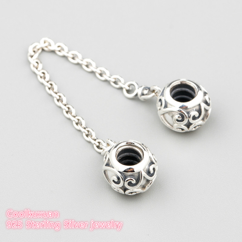 2019 Spring 925 Sterling Silver Enchanted Heart Safety Chain Charm Beads Fit Original Pandora Charms Bracelet Jewelry