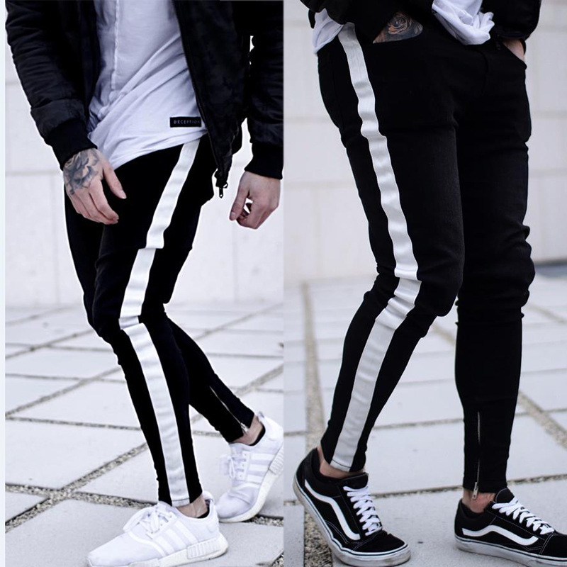 exclusively for the new men's skinny   jeans   black zipper foot leisure cultivate morality pants men Europe stand