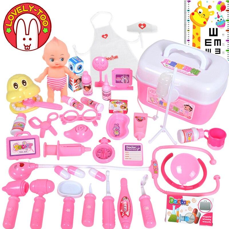 Kids Doctor Set Dentist Toys Girls Role-playing Games Hospital Pretend Play Medical Kit Nurse Bag Toys For Children Kids Game