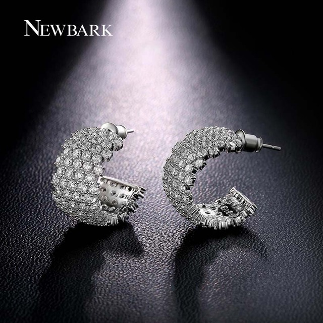 NEWBARK Small Hoop Earrings Open Earring For Women Luxurious Bridge White Gold Plated Jewelry 13 Rows CZ Diamond Hollow Brincos