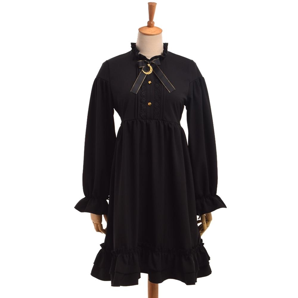 Girls Gothic Black Lolita Dress Cute Moon Bow Long Sleeve Empire Waist Ruffled Hem