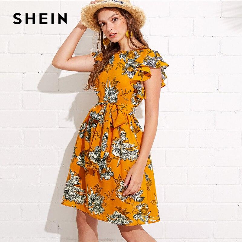 c80df34186d2 SHEIN Flutter Sleeve Self Belted Floral Dress 2018 Summer Butterfly Sleeve  Vacation Clothing Women Beach Ruffle Dress