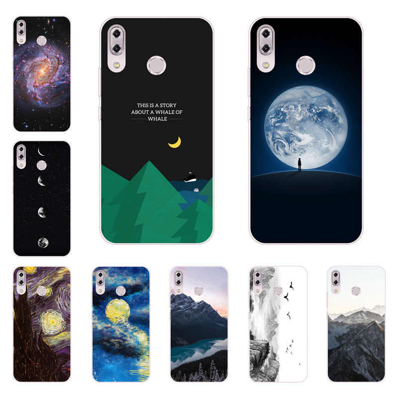 7737fd06a24 for asus zenfone max pro m1 zb601kl zb602kl case,Silicon Mountain peaks  Painting TPU Back