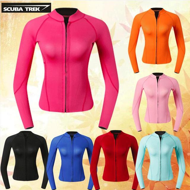 1cf1d10dbc US $61.6 12% OFF|Women's Wetsuit Top 2mm Neoprene Wetsuit Jacket Long  Sleeve Front Zip Wetsuit Shirt for Diving Snorkeling Surfing Kayaking  Cano-in ...