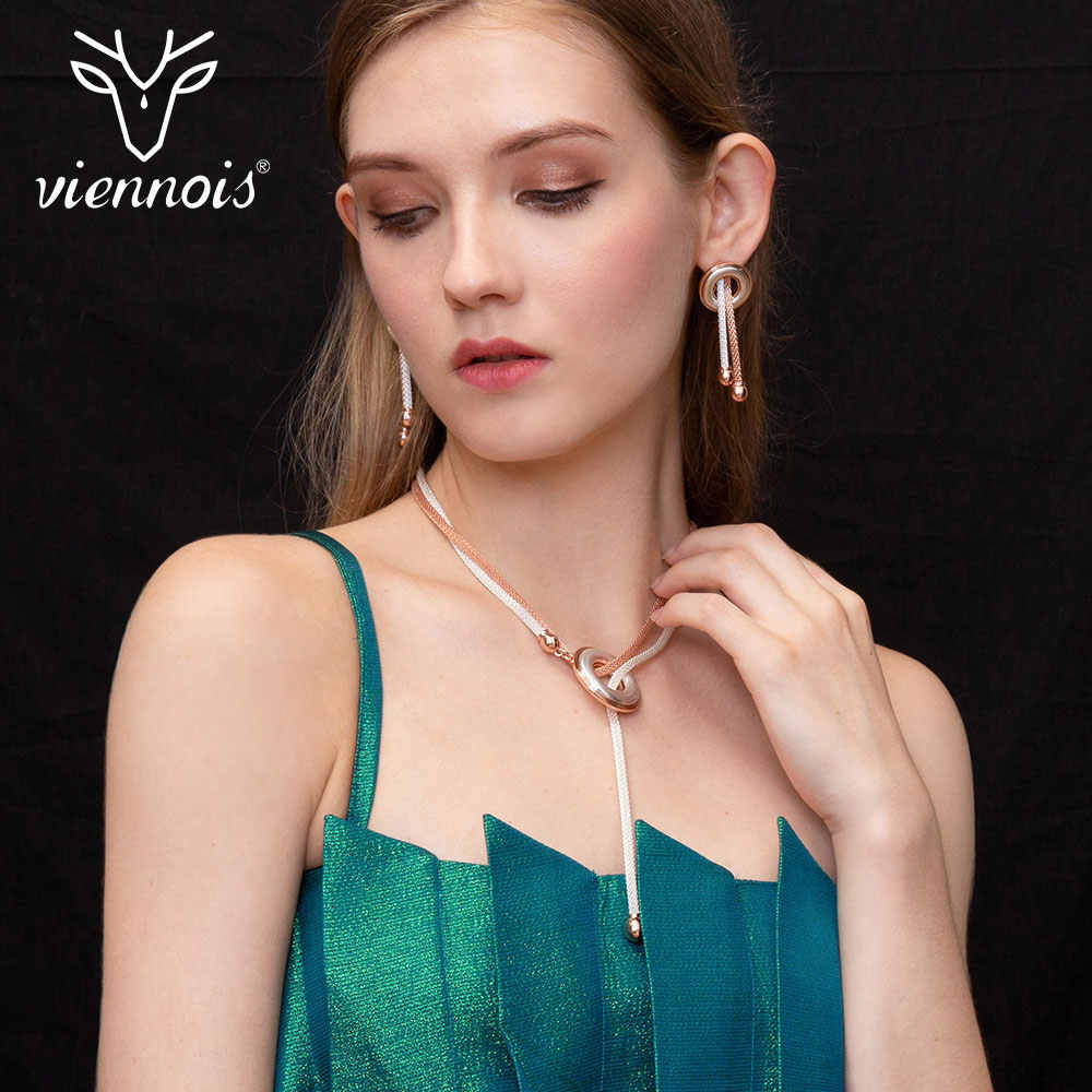 Viennois New Rose Gold Color Drop Earrings Necklace Set for Women Female Party Jewelry Sets 2019