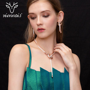 Image 2 - Viennois Trendy Jewelry Set Rose Gold Plated Necklace and Earrings Jewelry Set for Women Fashion Jewelry For Women