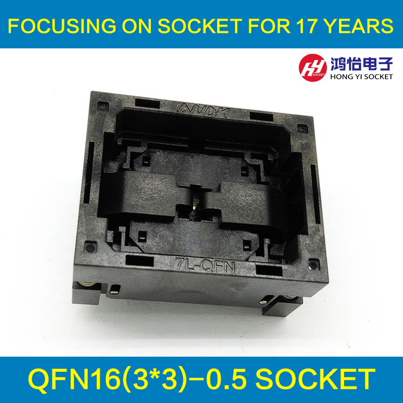 QFN16 MLF16 Burn in Socket IC Test Socket NP506-016-027-C-G Pitch 0.5mm Chip Size 3*3 Flash Adapter Open Top Programming Socket lga60 socket open top structure ic test socket burn in socket size 14 18mm programming socket lga adapter conversion block