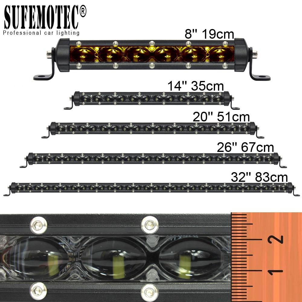 6D lentille Super mince barre de LED Offroad 30W 60W 90W 120W 150W pour voiture Uaz 12V 24V tracteur Suv camion bateau 4WD 4x4 ATV lampes de travail LED