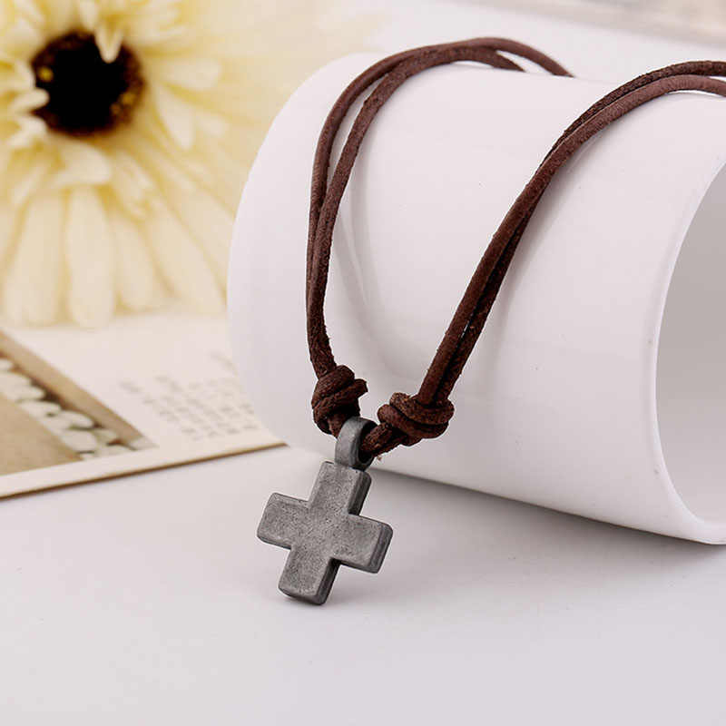 1 Pc Cross Mens Jewelry Vintage Genuine Leather Rope Necklace for Women Punk Antique Pendant Necklaces Fashion Prayer Gift Chain