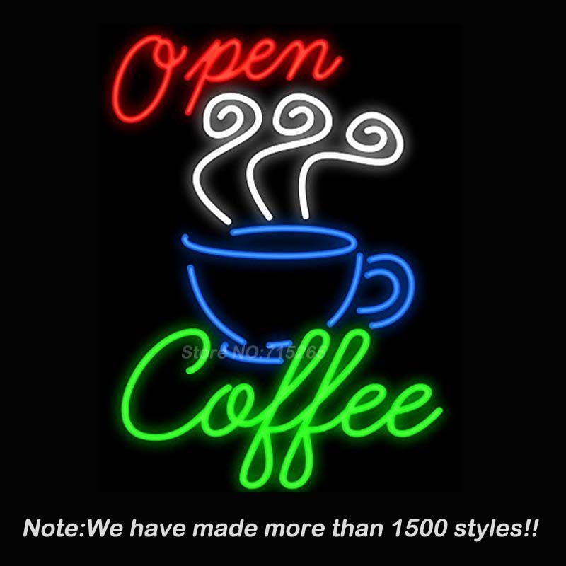 Open Coffee neon signs Handcrafted Beer Bar Pub Neon Lamp Store Display Design Decorate Real Glass Tube Neon Light Sign 19*15 VD