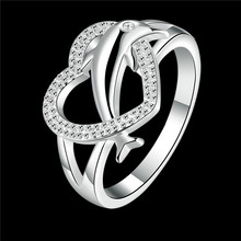 silver heart ring with zircon dolphin jewelry romantic Valentine's Day gift for women factory wholesale top quality