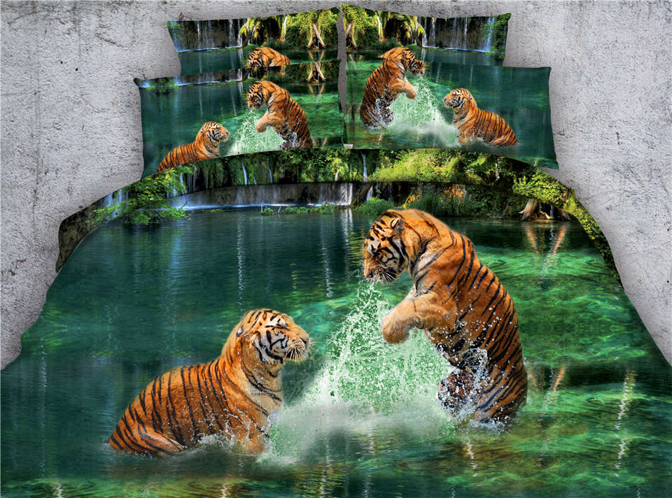 3D tigers animal printed bedding set comforter duvet covers bed linens twin full queen king cal king size boys bed room green3D tigers animal printed bedding set comforter duvet covers bed linens twin full queen king cal king size boys bed room green