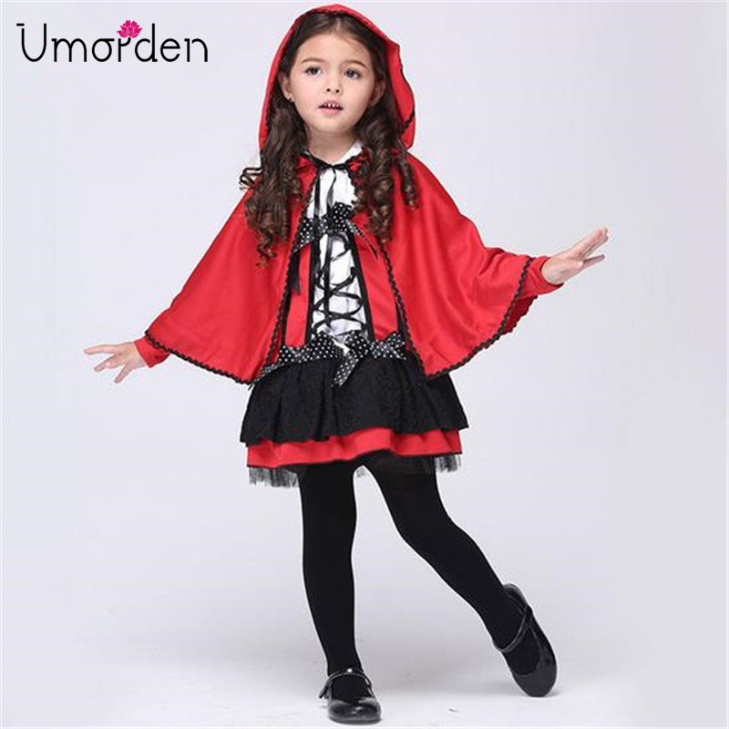 Umorden Children's Day Party Halloween Costumes for Kids Children Little Red Riding Hood Costumes Costume Cosplay for Girls Girl