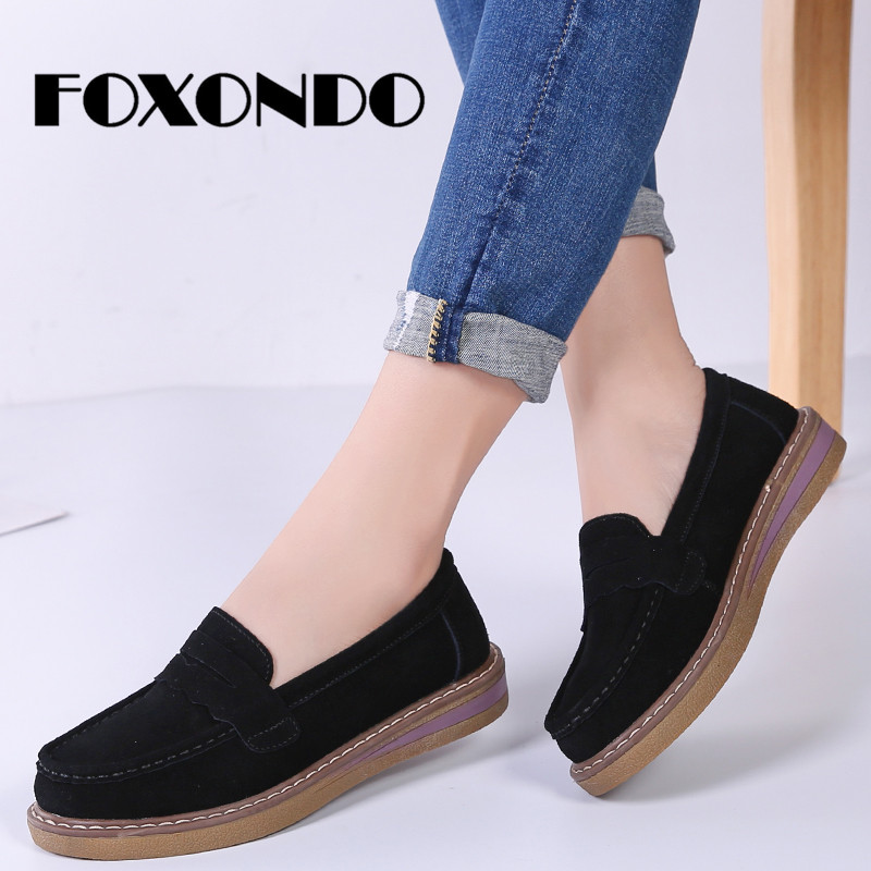 FOXONDO 2019 Spring Women Flats Shoes Slip On Platform Sneakers Shoes   Leather     Suede   Casual Shoes Flat Heels Creepers Moccasins