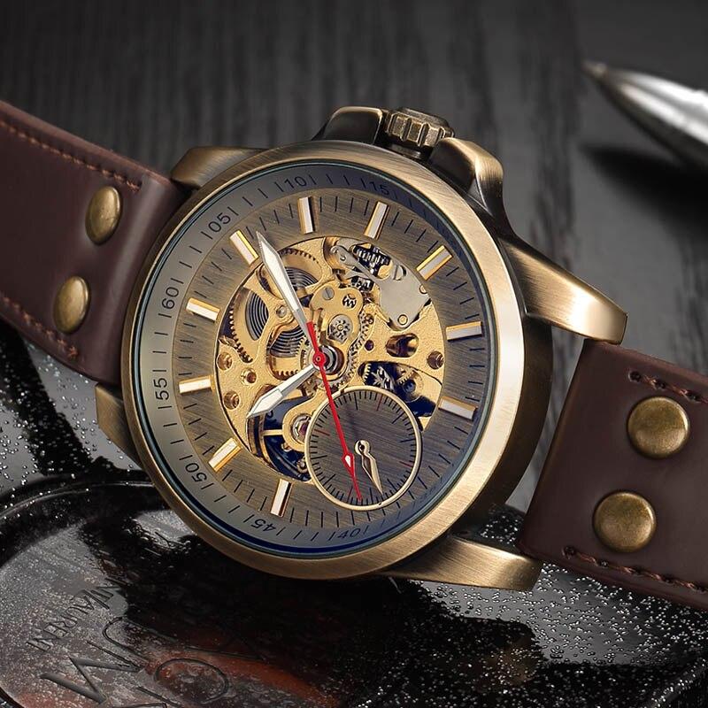 Relógios de Marca Relógio Mecânico Automático Topo Luxo Masculino Moda Esporte Militar Relógios Pulso Oco Crânio Auto Enrolamento 2020