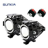2Pcs Set SUNKIA LED Headlight Fog Light With Switch CREE Chip U7 125W 3000LM Devil Angel