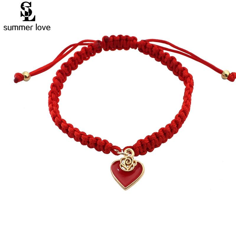 54e2e913807 2019 Red Thread Bracelet Heart Charm Bracelets For Women Handmade Braided  Rope Friendship Jewelry Lucky Adjustable