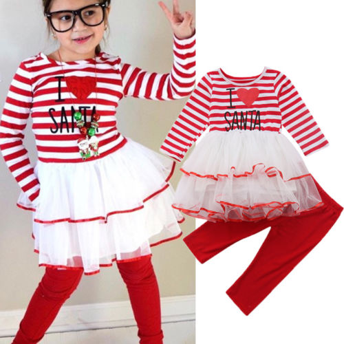 bf40bc901f5 2018 Autumn Kid Girl Stripe Mesh Tutu Dress Tops Red Long Pants Clothes Set  Christmas Baby Girls Striped Dress Top Pants Outfits-in Clothing Sets from  ...