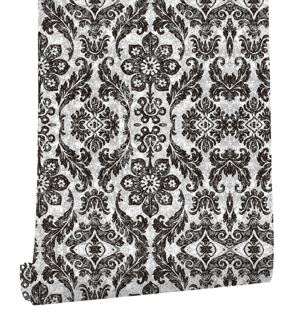 Haokhome Vintage Floral Damask Peel And Stick Wallpaper Diamond