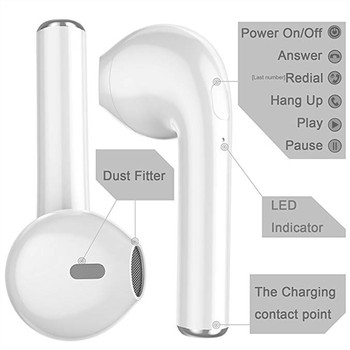 I7 i7s tws in-ear wireless Bluetooth Earphone Earbuds Headset earphones With Mic For iPhone xiaomi huawei phones with usb cables 1